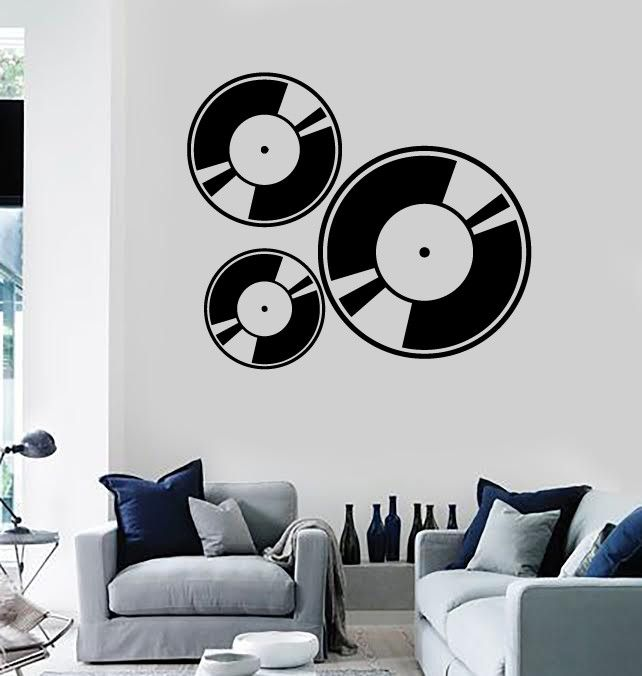Wall Stickers Vinyl Decal Vinyl Gramophone Records Music Cool Design (ig989)