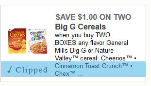 $1 off any Two Boxes of any flavor General Mills Big G or Nature Valley cereal ($1.49 a box Starting 05-07 at Walgreens)