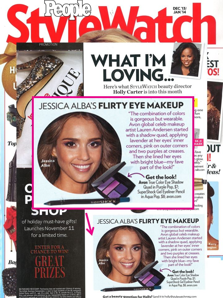 #BrightEyes! Avon Global Celeb Makeup Artist @Lauren Davison Andersen  tells @People magazine magazine stylewatch how to get a purple #SmokeyEye with a bright blue liner using True Color Eyeshadow Quad in Purple Pop 7 SuperShock Gel Eyeliner in Aqua Pop.