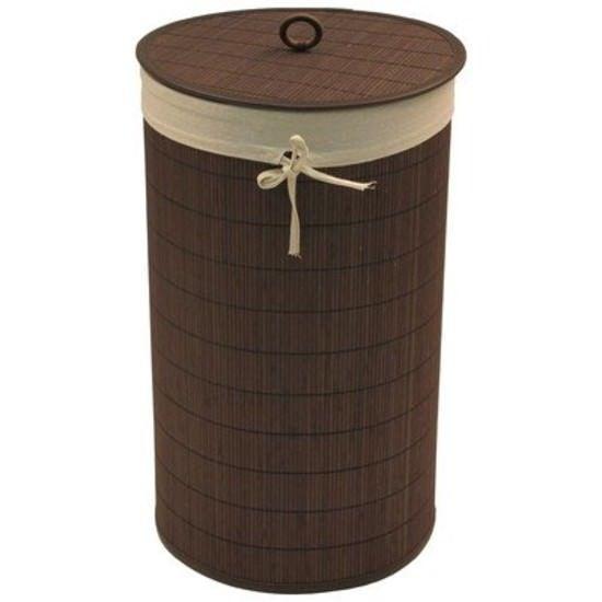 Round Bamboo Hamper Organizer Storage w/ Ecru Liner Home Brown New #Redmon