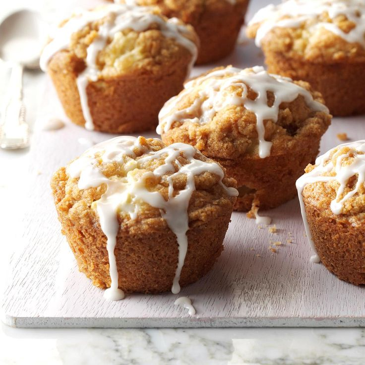 Apple Streusel Muffins Recipe -These muffins remind us of coffee cake, and my husband and kids love them as a quick breakfast or snack on the run. The drizzle of glaze makes them pretty enough for company. —Dulcy Grace, Roaring Spring, Pennsylvania