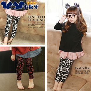 2013 summer korean version of the new childrens fashion children baby girls leopard leggings long pants 6102 only $6.76USD a Piece