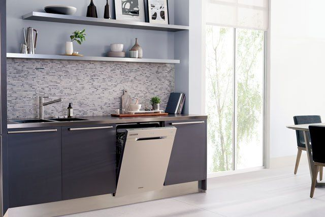 Part of Samsung's premium Chef Collection of kitchen appliances, the WaterWall dishwasher offers a new take on cleaning. Instead of traditional, rotating spray arms, vertical jets create a wall of water that sweeps back and forth during the wash cycle. Other notable features: a flexible cutlery/utensil tray, convenient touch controls and, to save energy, the ability to wash a half-load in the top or bottom drawer. The WaterWall also boasts stainless steel good looks with flush styling—ideal…
