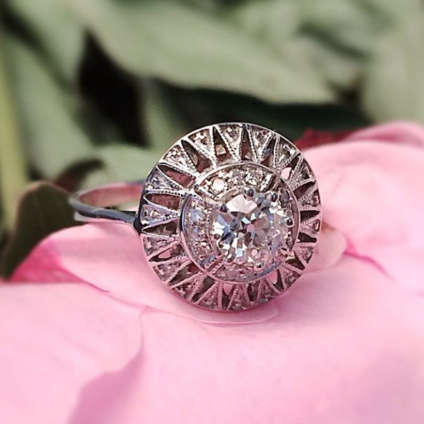 Vintage Art Deco engagement ring from Trumpet  Horn | $2,650