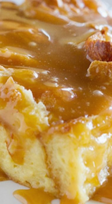Eggnog Croissant Bread Pudding with Caramel Eggnog Syrup