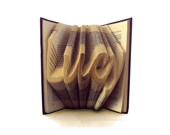 Handwriting CUSTOM NAME or WORD - Folded book art - birthday gift - personalised baby gift - Paper Sculpture - Book Sculpture - customised
