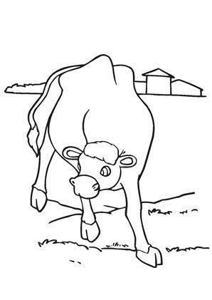 ausmalbild kuh auf der weide zum kostenlosen ausdrucken