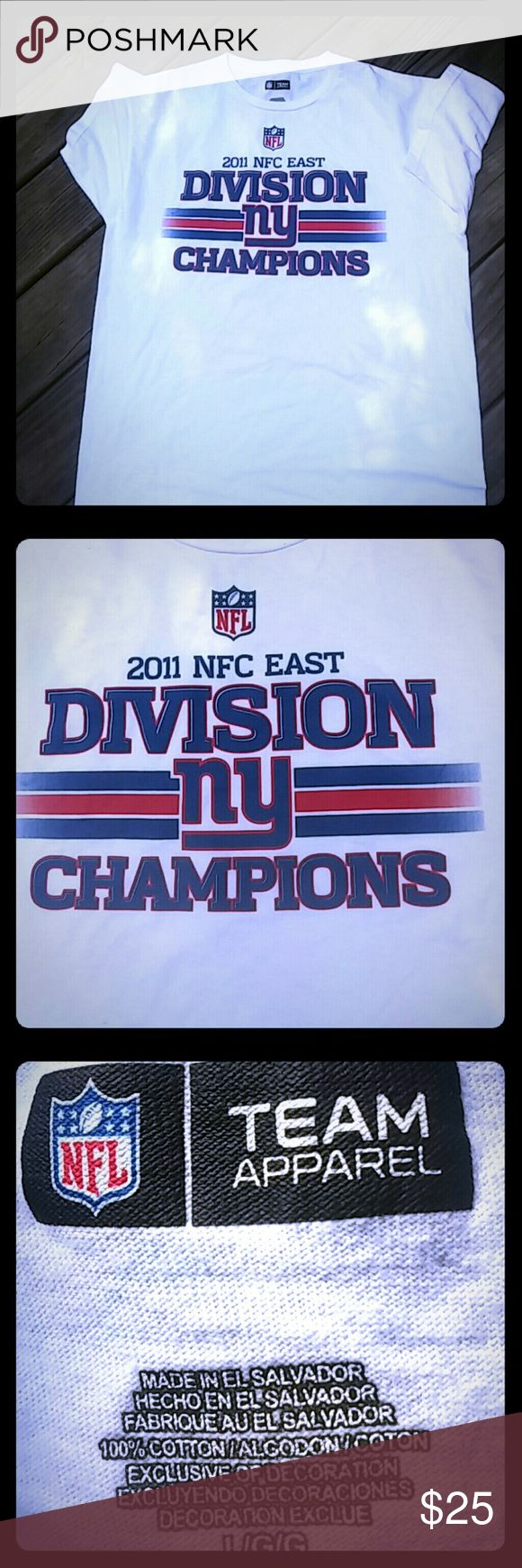 NY Giants 2011 NFC East Division Champion T SZ L NFL Team Apparel Shirts Tees - Short Sleeve