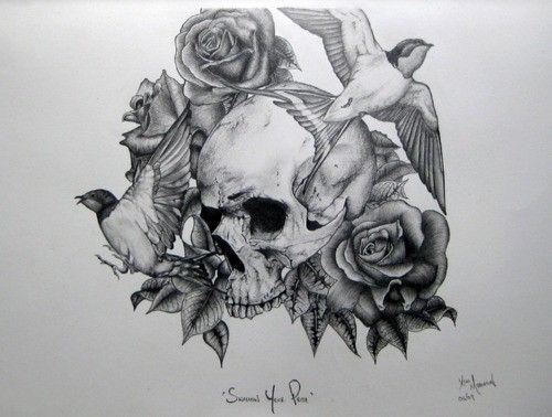 Skull Tattoo Designs Drawings | Tattoo Skull Bird And ...