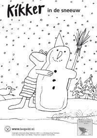 Kleurplaat Kikker in de sneeuw (Max Velthuijs)