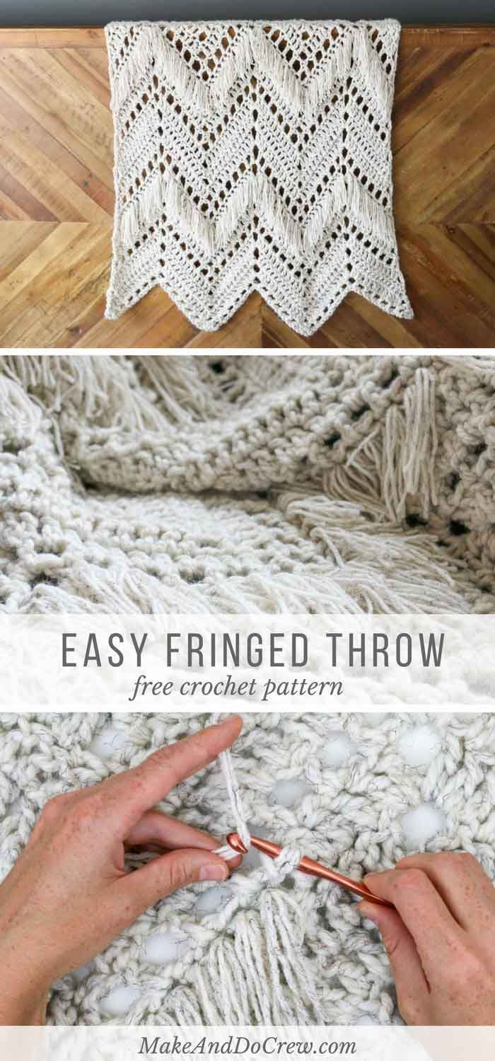 I love this! In this modern fringed crochet blanket free pattern, two weights of yarn combine to add instant style and texture to any room of your house. It is easy, and can be a beautiful afghan for beginners!