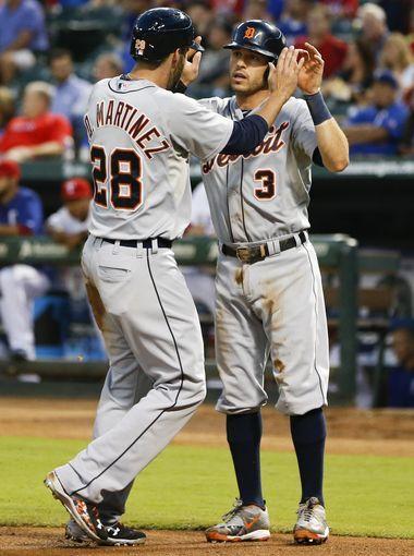 Detroit Tigers' J.D. Martinez (28) and second baseman