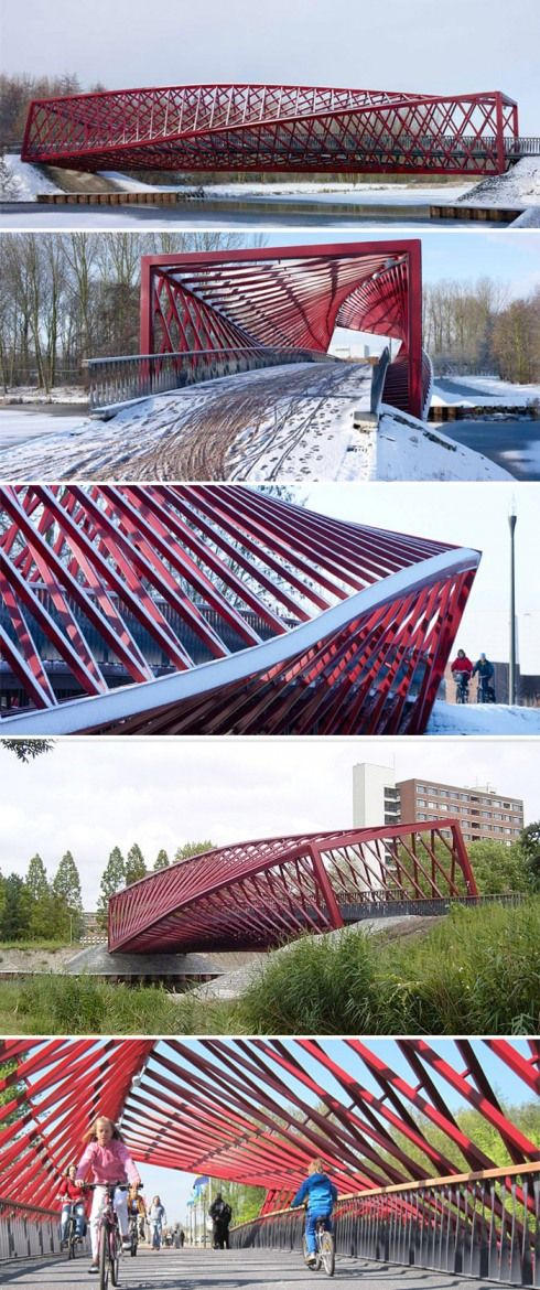 The Twist Bridge: West 8 Architects Spanning roughly 42 meters, this bicycle and pedestrian bridge called 'The Twist' bridge for its contorted and sculptural lines, connects the Holy-Zuid district and the Broekpolder over Vlaardingse Vaart in The Netherlands.