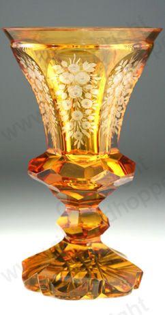 Antique Amber Glass. Engraved Biedermeier goblet vase, c.1900. To visit my website click here: http://www.richardhoppe.co.uk or for help or information email us here: info@richardhoppe.co.uk