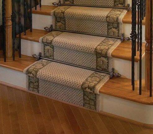 Tringles pour tapis d'escalier - Collection Grand Dynasty 100% laiton Diamétre 19,1mm - Tube lisse finition Etain ancien - canon de fusil
