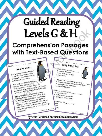 Reading Comprehension Passages with Text-Based Questions: Guided Reading Levels G and H.  Also available for Levels C, D, E, F,and I/J.   ($)