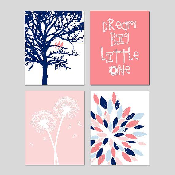 Dream Big Little One Nursery Art Navy and Pink Nursery Decor