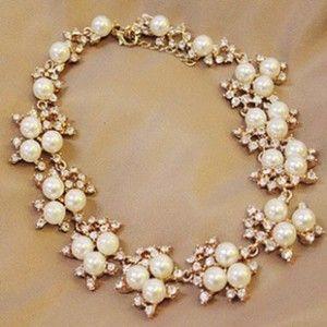 Luxury Pearl Bib Statement Wedding Bridal Necklace