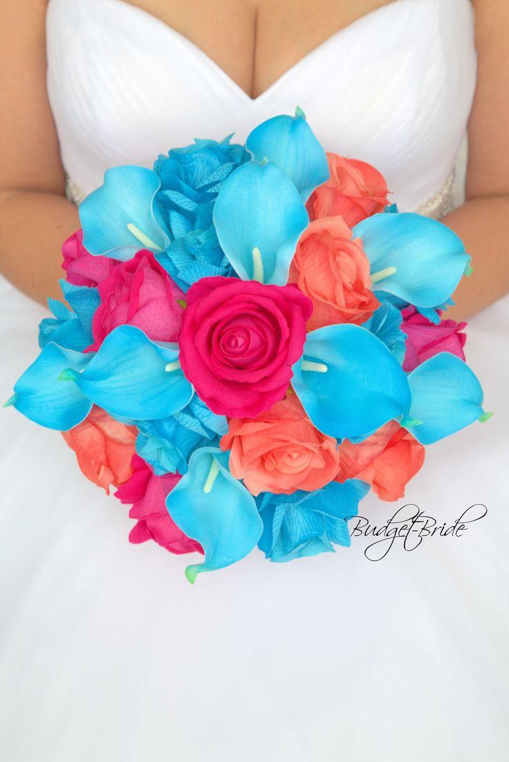 Davids Bridal Malibu Blue pink Bouquet
