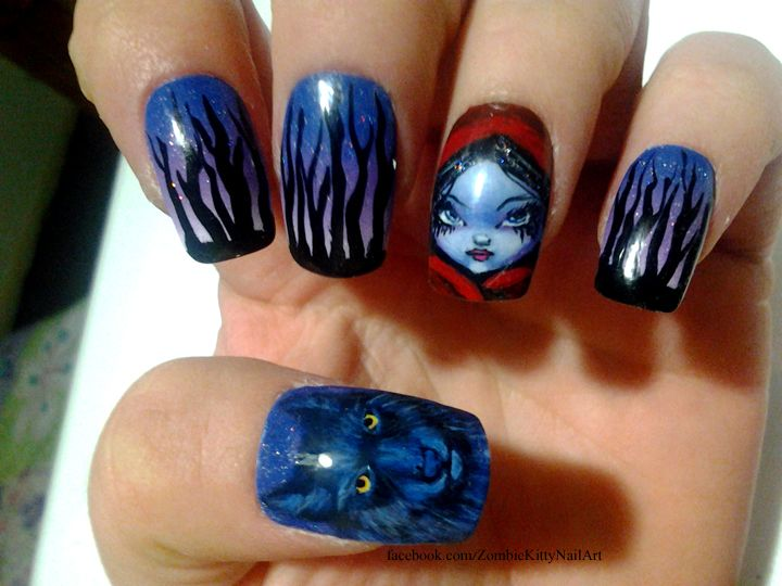 Little Red Riding Hood Nail Art By Zombiekitty In The Woods At Night With Bad Wolf On Left Hand