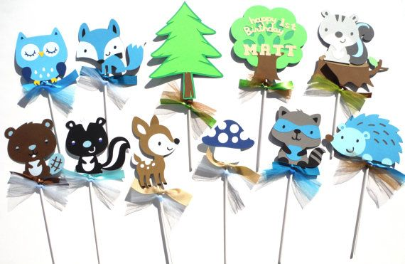 Woodland Boy Forest Animal Themed Party Centerpiece Sticks Set of 11 Birthday Party - Personalized with Name and Age Owl Fox Deer....