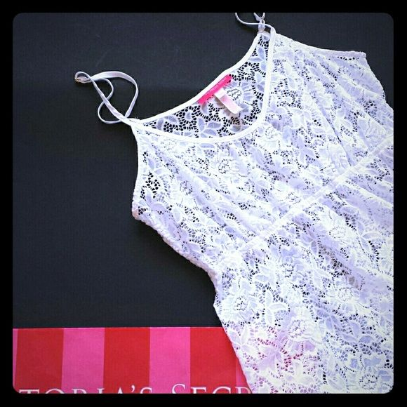 New! VS lace swimsuit cover-up New! White stretch lace material cover-up Durable material Perfect for spring break or summer! Victoria's Secret Swim Coverups