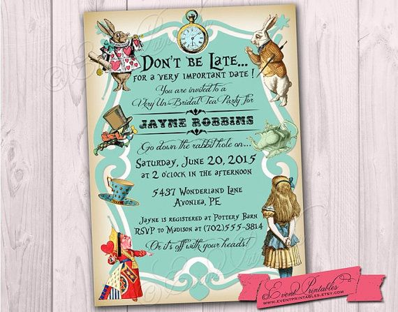 Alice in Wonderland Tea Party Bridal Shower by EventPrintables