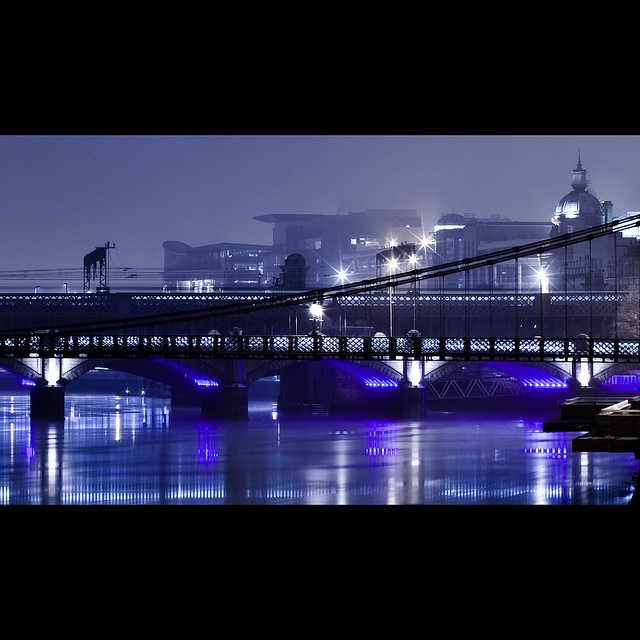 crossing the clyde, glasgow at night, river clyde bridges by abbozzo, via Flickr