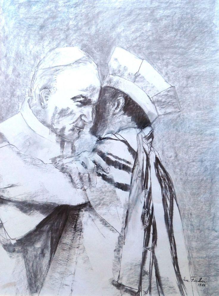 """""""L'Abbraccio"""" di Eva Fischer opera esposta al Museo Ebraico di Roma"""