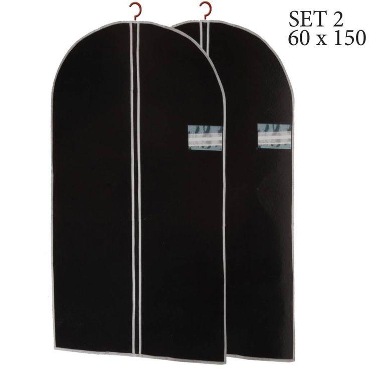 Deze kledinghoezen zijn ideaal voor het beschermen van uw kleding tegen stof en vuil. Set 2 opberghoezen van 150x60cm