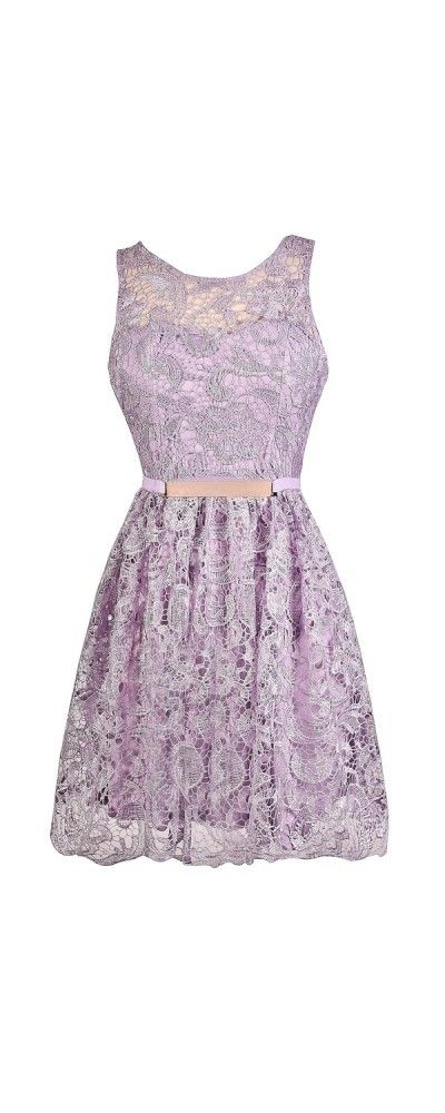Bridesmaids: All Tied Up Tie Back Crochet Lace A-Line Dress in Lavender