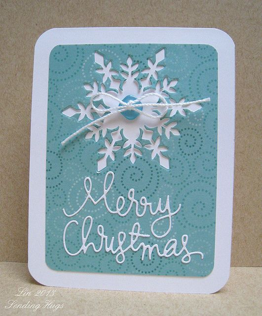 handmade Christmas card ... one panel with negative space snowflake and die cut sentiment ... rounded corners ... like it!