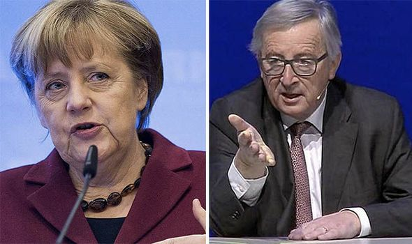 'Karma!' Juncker says Germany BLOCKED fortifying EU borders but praises Merkel on refugees  GERMANY deserves little sympathy over its migrant plight because the country conspired to block attempts to strengthen Europe's borders at the turn of the century, EU chief Jean-Claude Juncker said today.  By NICK GUTTERIDGE PUBLISHED: 10:58, Mon, Dec 12, 2016