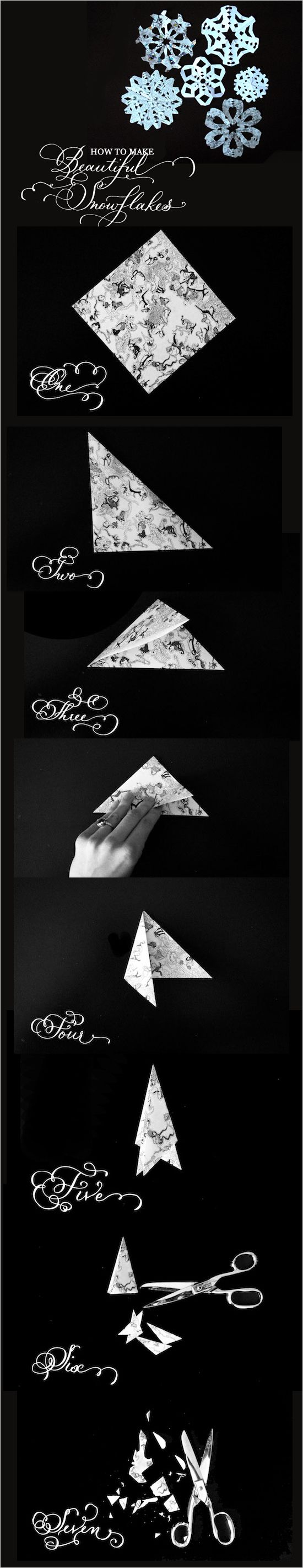 """""""How to Make Beautiful Paper Snowflakes"""".  OMG, this tutorial isn't even meant to be funny, but for some reason I think it's hilarious.  There I was, following the pictures earnestly (thinking to myself """"yep, uh-huh, uh-huh, yeah, okay"""")... right up until I had a big chuckle-snort at step #7.  Is it just me, or does that paper look like it was shredded by Edward Scissorhands?!"""