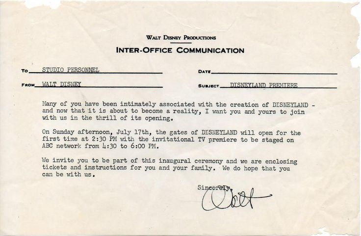 An inter-office memo from Walt about Disneyland's premiere