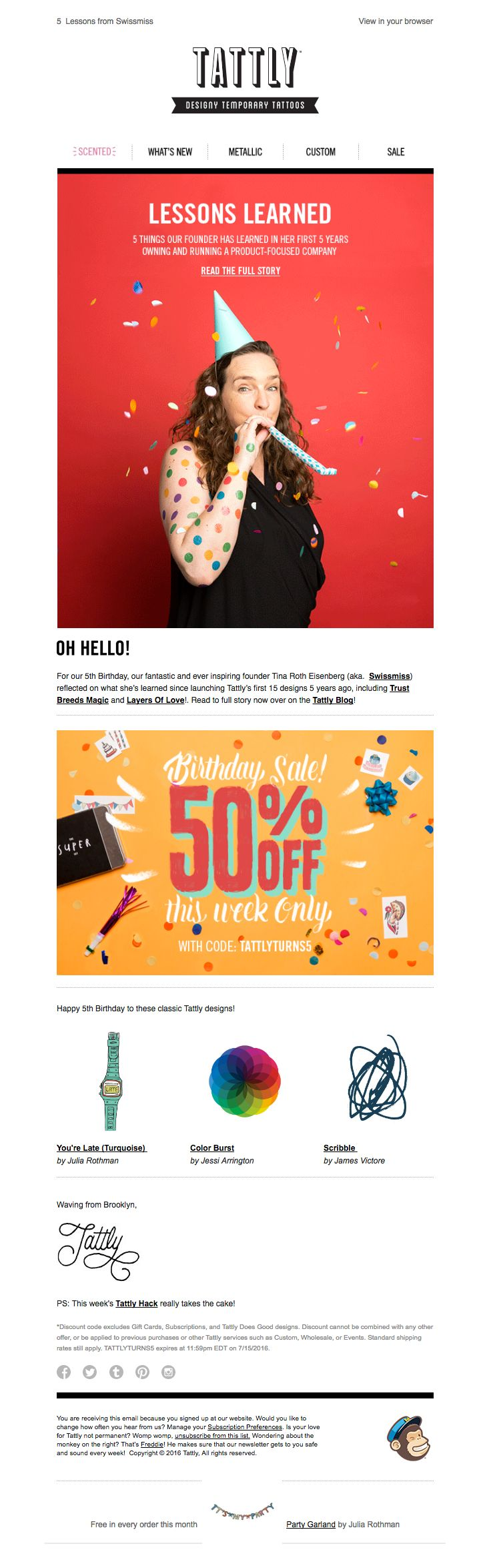 @tattly  sent this email with the subject line: 5 Things We've Learned in 5 Years - Read about this email and find more customer appreciation emails at ReallyGoodEmails.com #customerappreciation #thankyou #newsletter