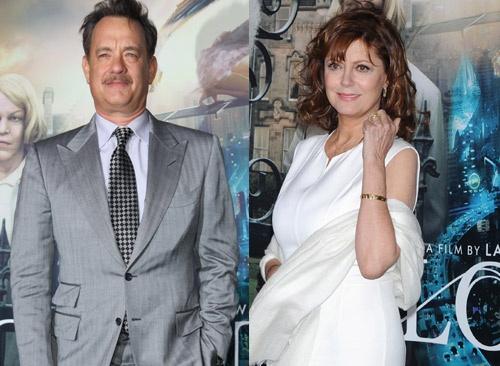 Tom Hanks y Susan Sarandon en el estreno de la película 'El atlas de las nubes' #actores #famosos #people #celebrities #actor #actrices
