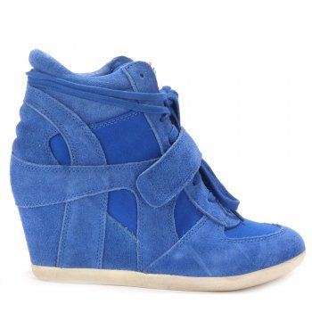 Ash BOWIE royal suede & canvas high-top wedge trainers