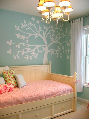 Girl nursery ideas. I like the wall color and the tree in
