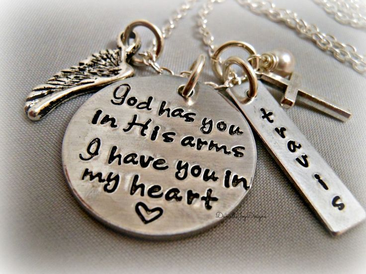 God Has You In His Arms I Have You In My Heart (Personalized) - Custom Loss Memorial Remembrance Miscarriage Necklace Mothers Day. $39.00, via Etsy.