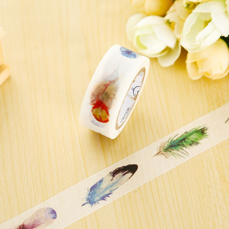 1 x Feather washi tape DIY decorative scrapbook planner masking tape office…