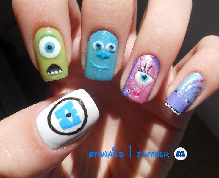 Monster's Inc./Monster's University Nail Art. | nail designs, Disney nails, Mike and Sully nail designs, movie nail art, nail trends, character nails.