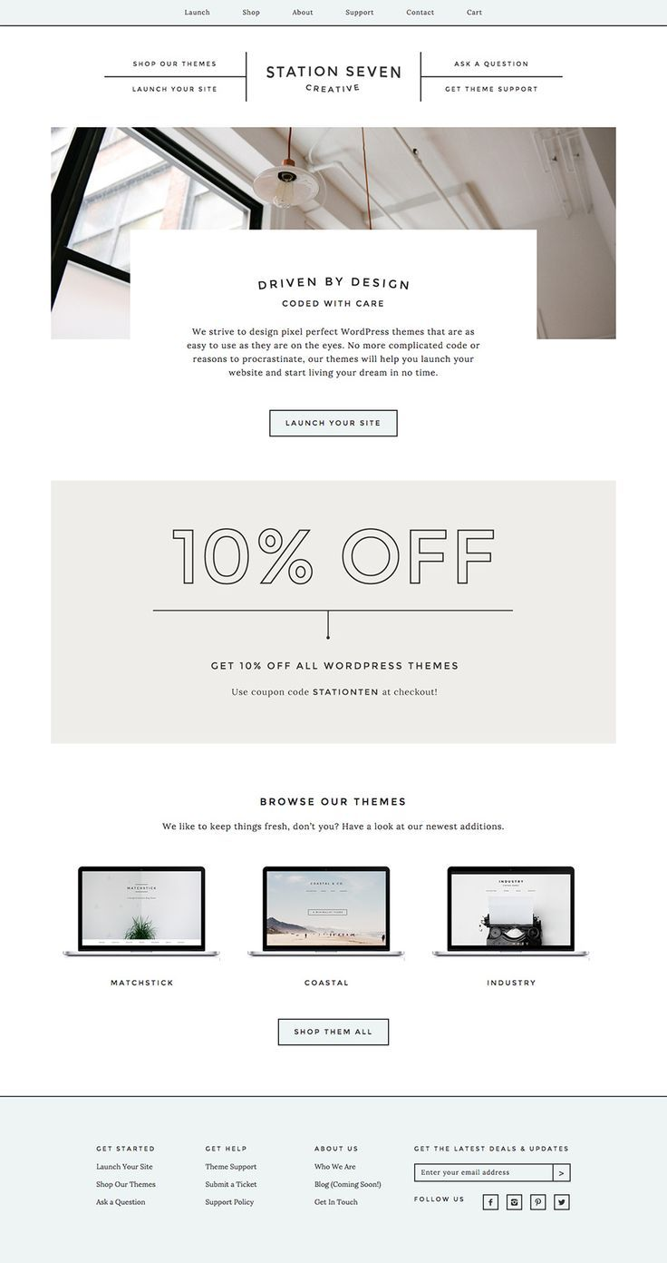Check out Station Seven's new website and get 10% off all WordPress themes! #webdesign #wordpress
