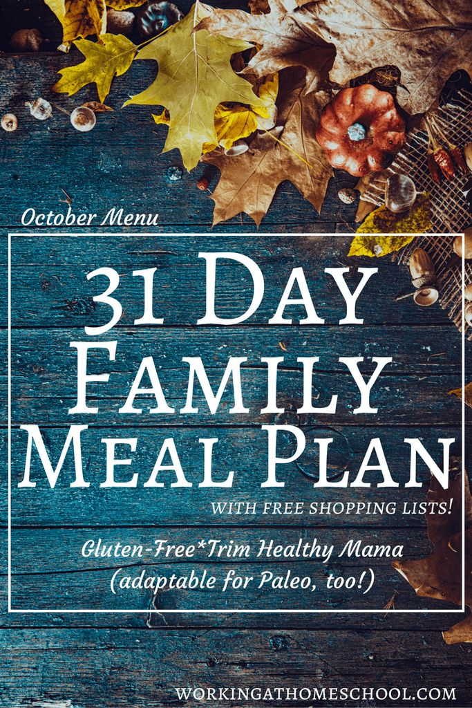 31 Day Meal Plan with shopping lists for the whole family! This menu is gluten-free and works for Trim Healthy Mama, and can be adapted for Paleo diets, too!