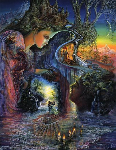 Josephine Wall- Sweet Synergy. I have a poster of this one at my parent's house.: