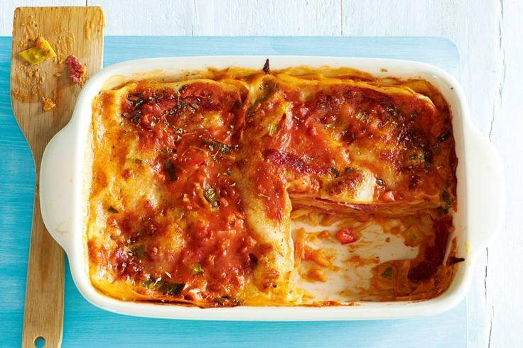 Lasagne met salami en mozzarella