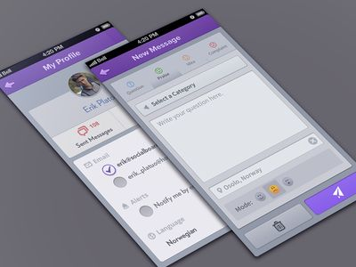 socialboards (some pages) iOS layout. Love the use of purple. Found on Dribbble.