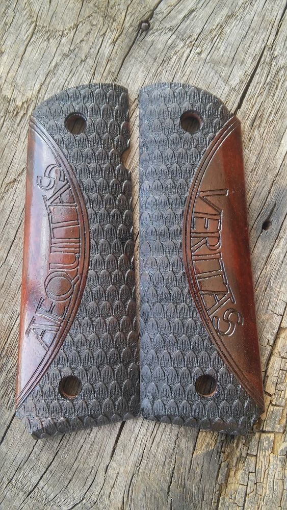 1911 Grips Full Size Walnut Veritas Aequitas Two Tone Boondock Saints Scales #CustomWarrior