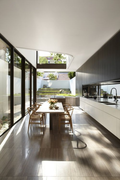 Home Décor, love the open plan and the merging of the garden with the kitchen