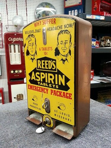 Original Reed's Aspirin Tablet Vintage Vending Coin Op Vending Machine | eBay